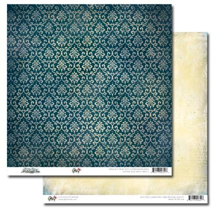 Vintage Blue Motif 12x12 Paper VB3517